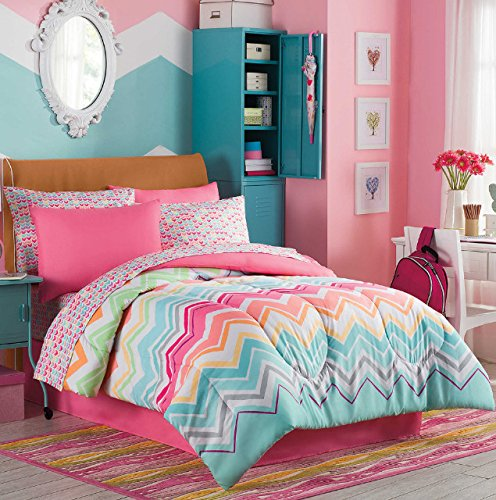 Rainbow Sherbet, Chevron, Teen Girls Colorful Full Comforter Set (8 Piece Bed In A Bag) + HOMEMADE WAX MELT (Girl Bed Full)