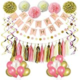 PartyPlanet Happy Birthday Party Decorations, Happy Birthday Banner, Pink and Gold Girl Birthday Party Supplies, Tissue Pom Poms, Balloons, Dot Paper Garland, Tassels