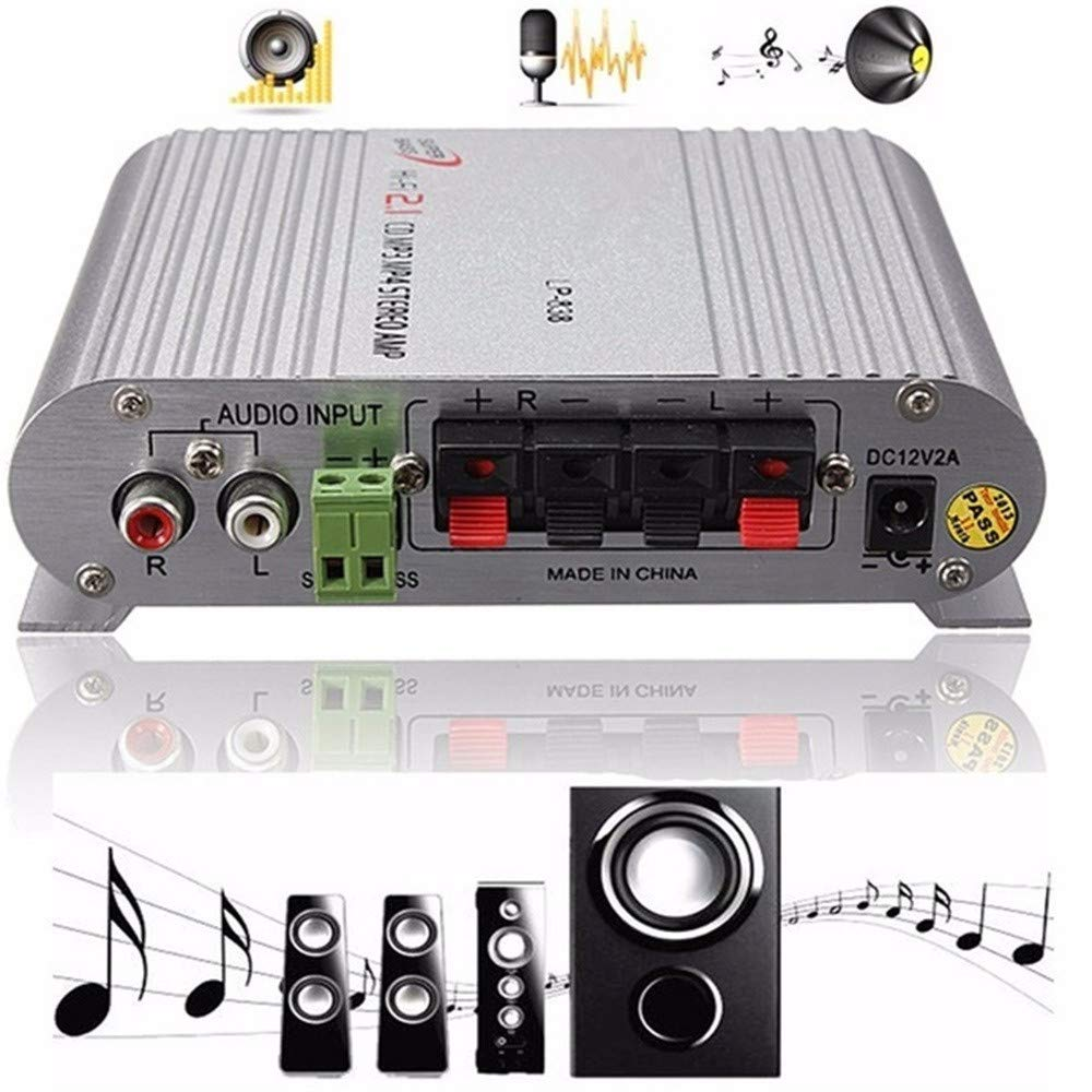 Obershein Sale HiFi Cd Mp3 Radio Car Home Audio Stereo Bass Speaker Amplifier Booster 12V 200W Silver by Obershein (Image #4)