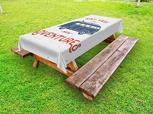 - Ambesonne Vintage Outdoor Tablecloth, New Adventures Typography with Little Van Hippie Lifestyle Free Spirit Print, Decorative Washable Picnic Table Cloth, 58 X 120 Inches, Cadet Blue White