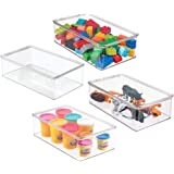 mDesign Stackable Plastic Storage Toy Box with Attached Lid - Container for Organizing Child/Kids Action Figures, Crayons, Ma