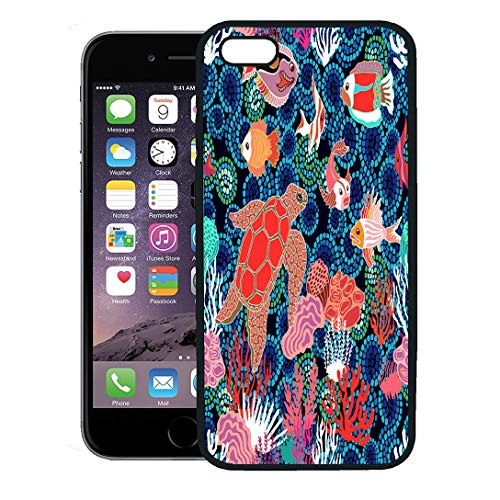 Semtomn Phone Case for iPhone 8 Plus case,Sea Life Fishes Tortilla and Corals on Seaweed Marine Collection Tropical Ocean Dark Blue Mosaic iPhone 7 Plus case Cover,Black