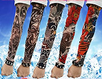 aa7341bc0d8 Amazon.com   Efivs Arts D Series Skull Tribal Dragon Koi Design Temporary  Tattoo Arm Cover up Sleeves 5 Pairs (Color K)   Beauty
