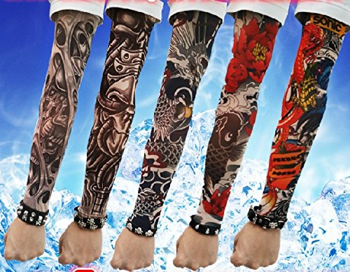 [Efivs Arts D Series Skull Tribal Dragon Koi Design Temporary Tattoo Arm Cover up Sleeves 5 Pairs (Color] (5 Guy Halloween Costumes)
