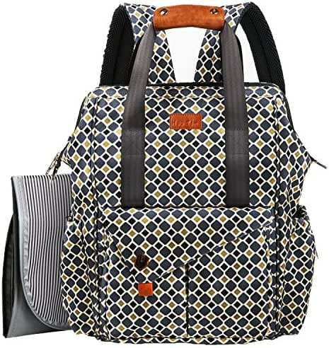 HapTim Multi-Function Baby Diaper Bag Backpack Stroller Straps- Insulated Pockets- Changing Pad Included, Nylon Fabric Large Capacity Waterproof Nappy Changing Bag for Moms & Dads (Gray+Gold 5279)