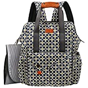 HapTim Multi-function Baby Diaper Bag Backpack W/Stroller Straps- Insulated Pockets- Changing Pad Included, Nylon Fabric Waterproof for Moms & Dads (Gray+Gold 5279)