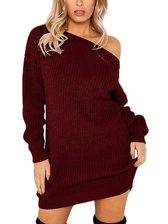 7e7df57a6c1 Minetom Sexy Pull Robe Courte Tricotée Femme Automne Hiver Manche Longue  Off Épaule Mini Dress Chandails