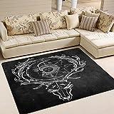 ALAZA Vintage Deer Sleeping Moon and Sun Art Area Rug Rugs for Living Room Bedroom 5'3 x 4′