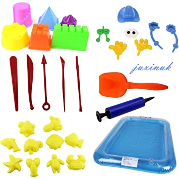 juxinuk 30PCS Kit de moldes de arena con bandeja de arena portátil, uso con arena