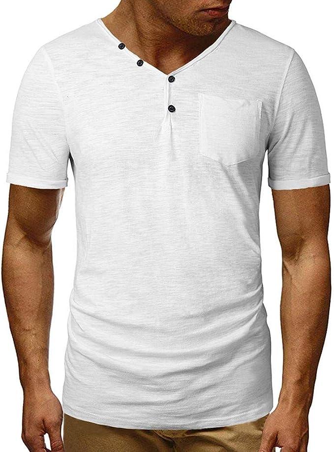 Hommes Garçons T-shirt basique Couleur Unie T-shirt d/'été à manches courtes Tops shirt fashion #