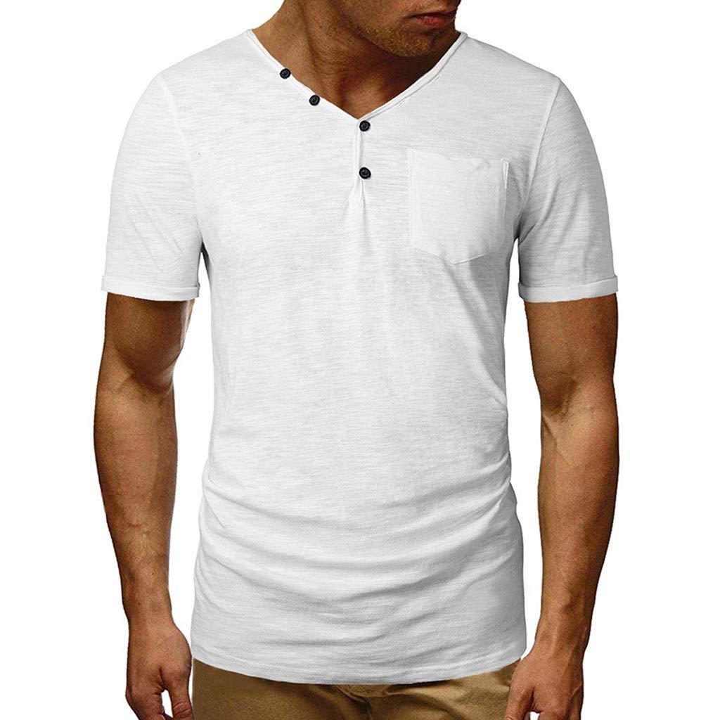 FEDULK Men's Solid Shirts Spring Summer V Neck Short Sleeve Button T-Shirt Stretch Slim Elastic Tops Pullover(White, Large)
