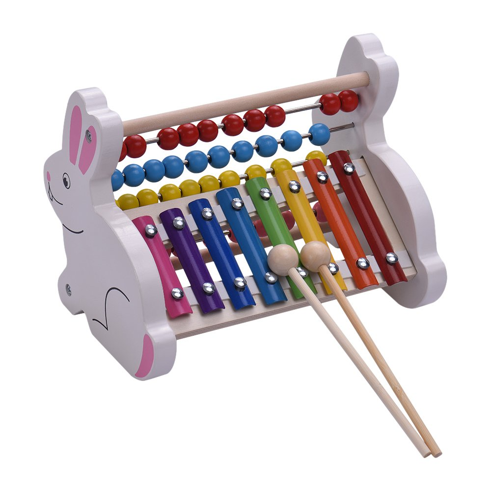 Xylophone Glockenspiel Muslady 2-in-1 Wooden 8 Notes Abacus Beads Early Educational Toy Percussion Instrument Musical Gift for Kids Children