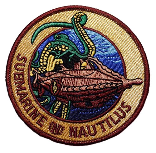 """20,000 Leagues Under the Sea Submarine Nautilus 3 1/2"""" Wide Embroidered Patch"""
