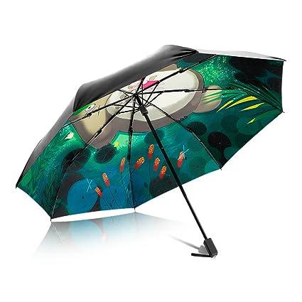 PARAMITA Paraguas de viaje, Marco reforzado a prueba de viento, Ligero, Paraguas plegable