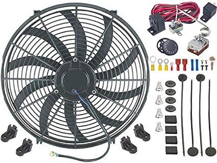 American V, 16 pulgadas Radiador eléctrico Condensador Ventilador de 12 V Kit de sonda de fin Termostato Ajustable: Amazon.es: Coche y moto