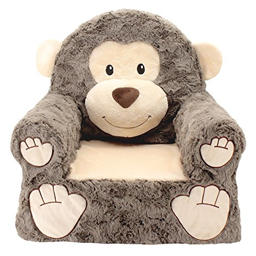 Animal Adventure Sweet Seats | Brown Monkey Children's Chair | Large Size | Machine Washable Cover