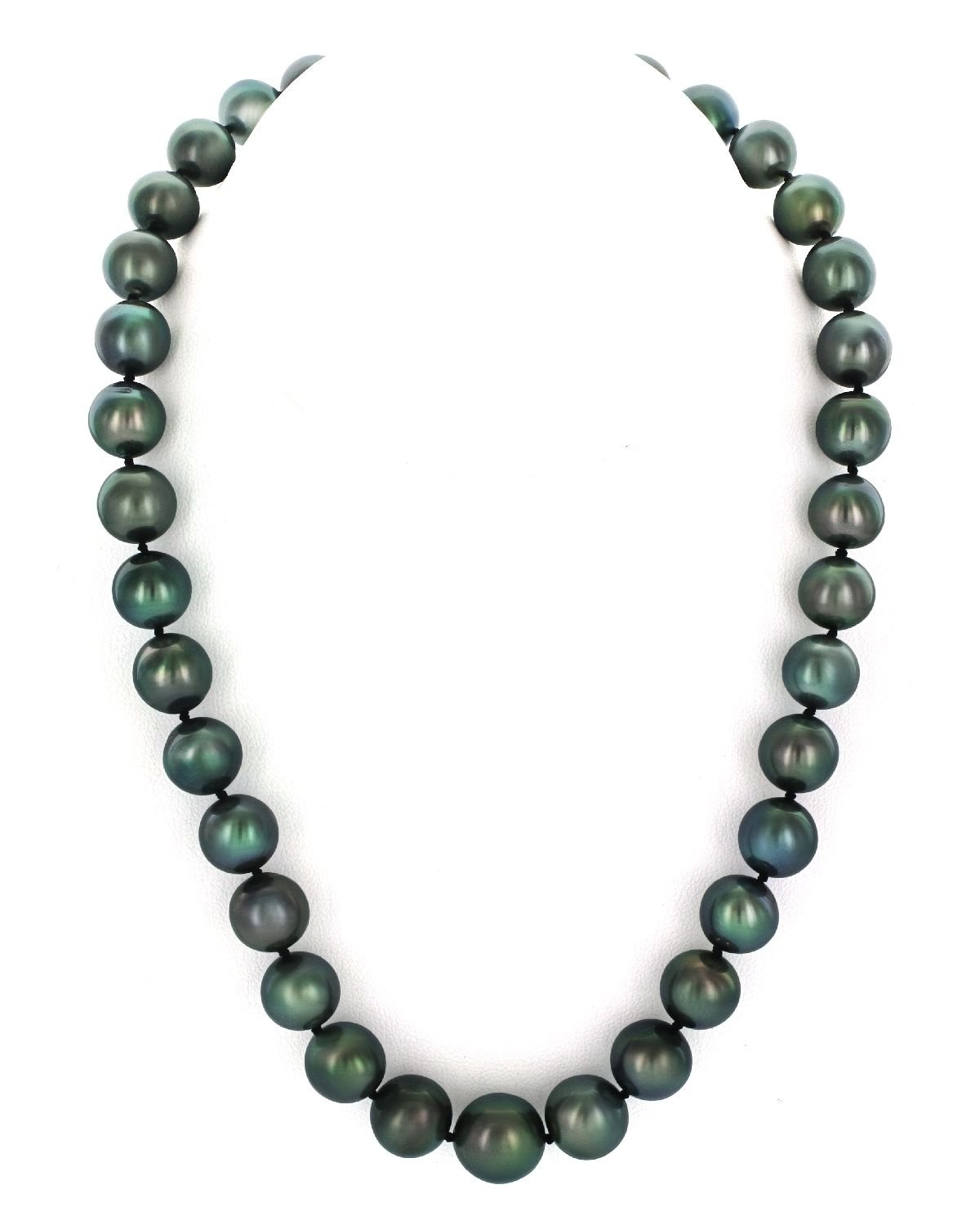 14K Gold 11-13mm Tahitian South Sea Round Cultured Pearl Necklace - 18'' Princess Length