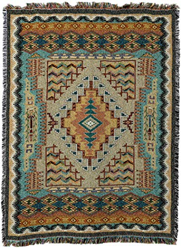 Southwestern Wall Hanging - Pure Country Weavers - Southwest Turquoise Geometric Woven Tapestry Throw Blanket with Fringe Cotton Made In The USA Size 72 x 54
