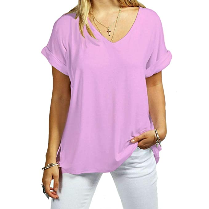 New Ladies Women/'s V Neck Top Turn Up Short Sleeve Baggy Loose T Shirt Size 8-30