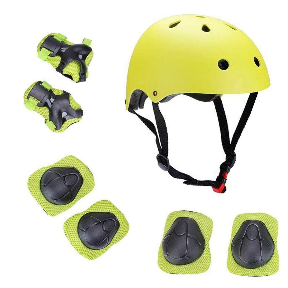 Kids Sport Protective Gear Set, Helmet and Pads of Wrist, Elbow, Knee, for Skateboarding, Skating, Scooter, Rollerblading, Cycling and Other Extreme Sports Activities (Green)