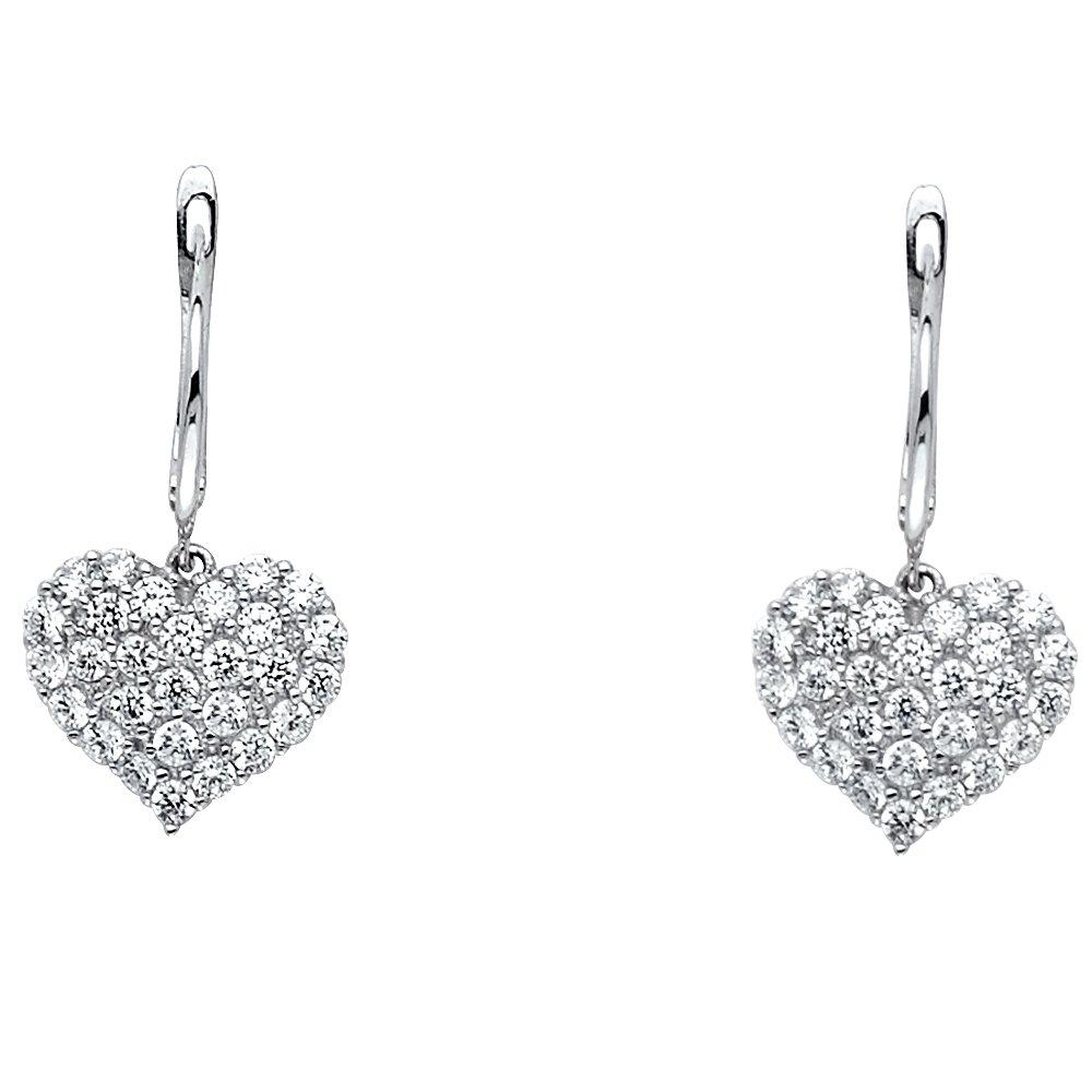 Ioka 14K White Gold CZ Stone Heart Hanging Hinged Earrings