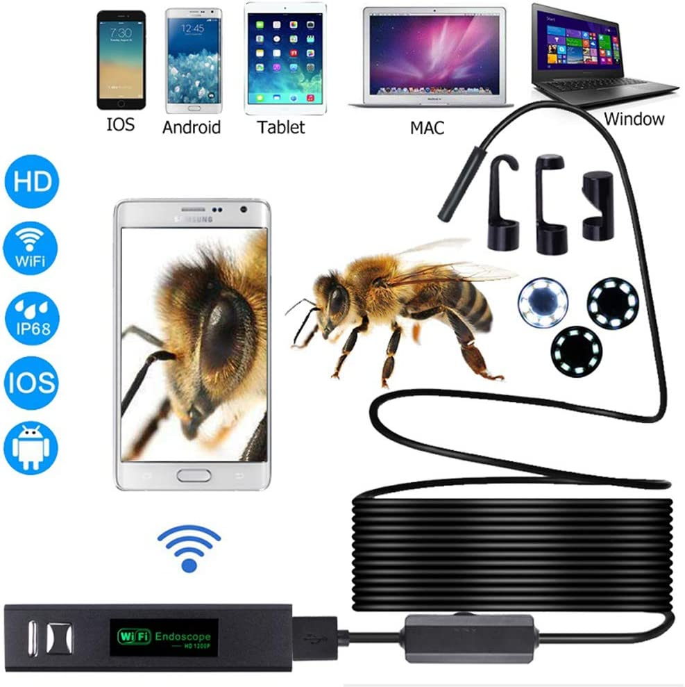 GOFEI Wireless Inspection Camera Semi-Rigid Cable IP68 Waterproof for iOS Android with 8 Adjustable LED Light Windows,3.5m 8mm WiFi Endoscope