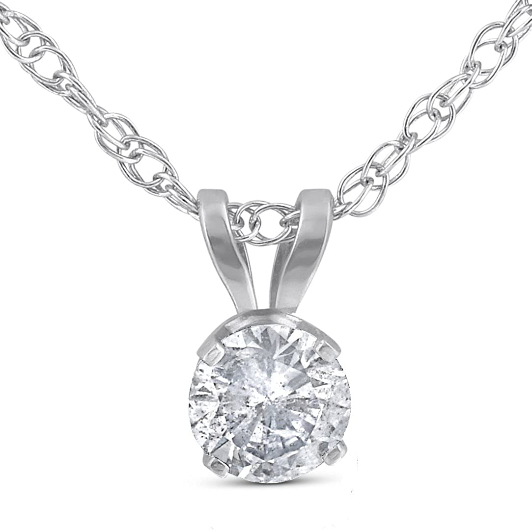 14K Gold Round Brilliant Shape Gemstone and White Diamond Pendant
