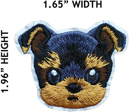 ID 2742 Yorkie With Bow Badge Patch Dog Breed Emblem Embroidered IronOn Applique