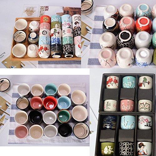 Cute Cat Pattern Serving Gift Sake Cups Set of 6 by East Majik (Image #1)