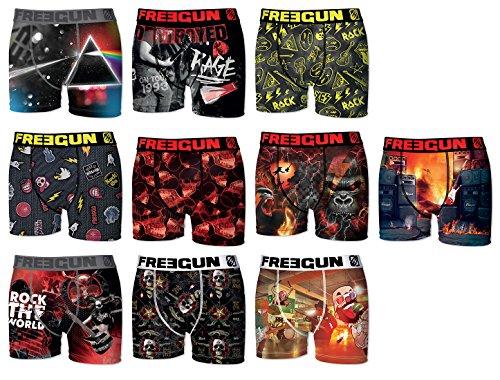 (Freegun. Boxer Mens Fgp43 Rock-Heavy Metal-Assortment Models Photos According to Arrival- (L, Pack of 3 Surprise))