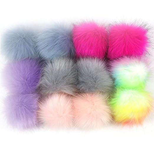 3b00298a3295d Dofilachy 12pcs Faux Pom Pom Ball DIY Pom Poms for Hats Shoes Scarves Bag  Pompoms Keychain Knitting Hat Accessories