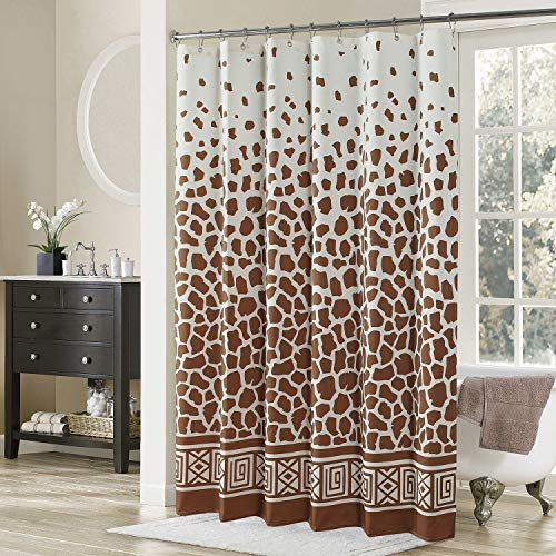DS BATH Giraffe Shower Curtain,Tan Polyester Shower Curtain,Vintage Shower Curtains for Bathroom,Cream Bathroom Curtains,Print Waterproof Shower Curtain,72