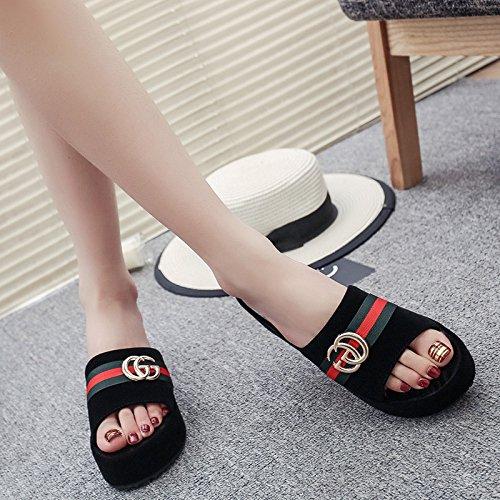Nouveau Sandales Muffins Semelles Summer Shoes Sauvages Femmes 37 épaisses Black à Et 36 Strass Coréen White GUANG Pieds Lazy Plat Pantoufles Teddy Sandales XING 5qFpP