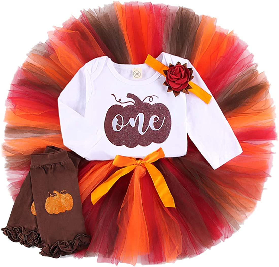 Baby Girl 1st Birthday Pumpkin Outfits Ruffle Sleeve Romper Tulle Tutu Skirt Headband Leg Warmers Halloween Clothes Set