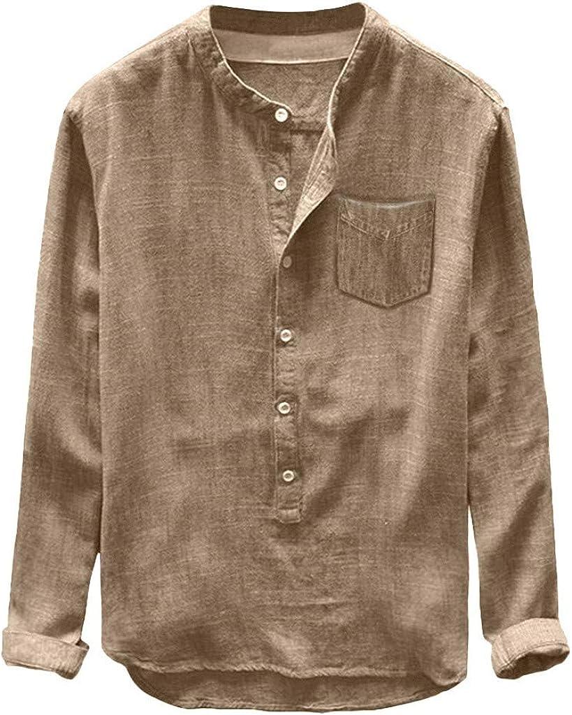Camisa Hombre Sasstaids Camisas Hombre Manga Corta Moda Camisetas Anchas Cuello Redondo Y Manga Larga Holgadas para Hombre Blusas Tops CóModa Blusa Casual Suave Ropa Hombre Elegante(Caqui, XXL): Amazon.es: Ropa y accesorios