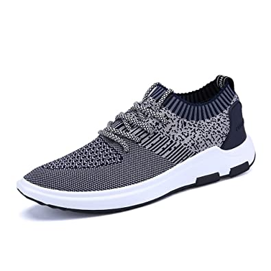 Shoes Mens Sneakers Casual Shoes Fly Weave Breathable Running Shoes Spring (Color : Black Size : 44)