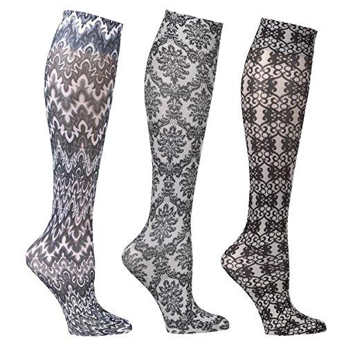 Women's Mild Compression Wide Calf Knee High Support Socks - Blacks & Whites - 3 Pair