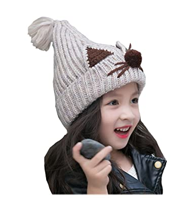 Lovely Cat Image Knitted Wool Crochet Knit Beanie Hats With Tassels Girls  Boys Skully Caps Winter 65d34874f033