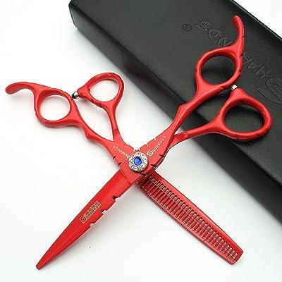 tijeras profesionales de acero rojo de 6 pulgadas Japón 440C (2 piezas) (2pcs)