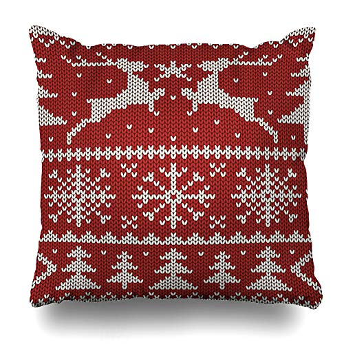 (NOWCustom Throw Pillow Cover Scandinavian Sweater White Christmas On Red Holidays Abstract Pattern Deer Nordic Snowflake Design Zippered Pillowcase Square Size 18 x 18 Inches Home Decor Pillow Case)