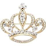 NOUMANDA Women Shiny Rhinestone Crown Brooch Pin