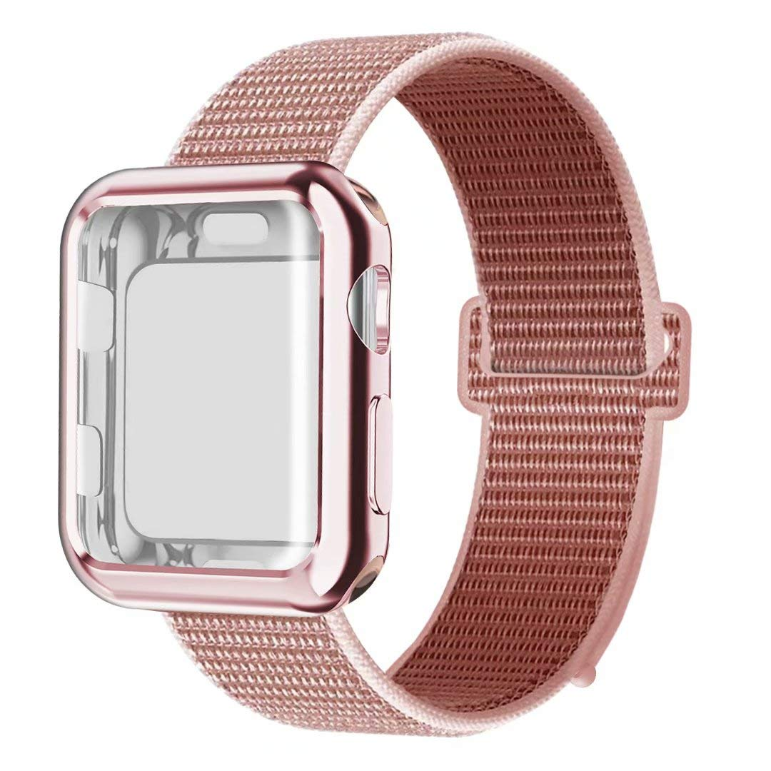 QIENGO Compatible with Apple Watch Band with Case 38MM, Soft Nylon Strap with Silicone Screen Protector, Replacement for iWatch Sport Series 3/2 / 1 (Rose Pink, 38mm)