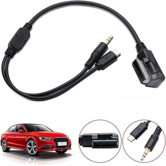 MASO C/âble Adaptateur auxiliaire pour Voiture AMI MDI MMI 3,5 mm pour Interface de Musique Audi A1 A3 A4L A5 A6L A8 Q3 Q5 Q7 TT VW vers Android