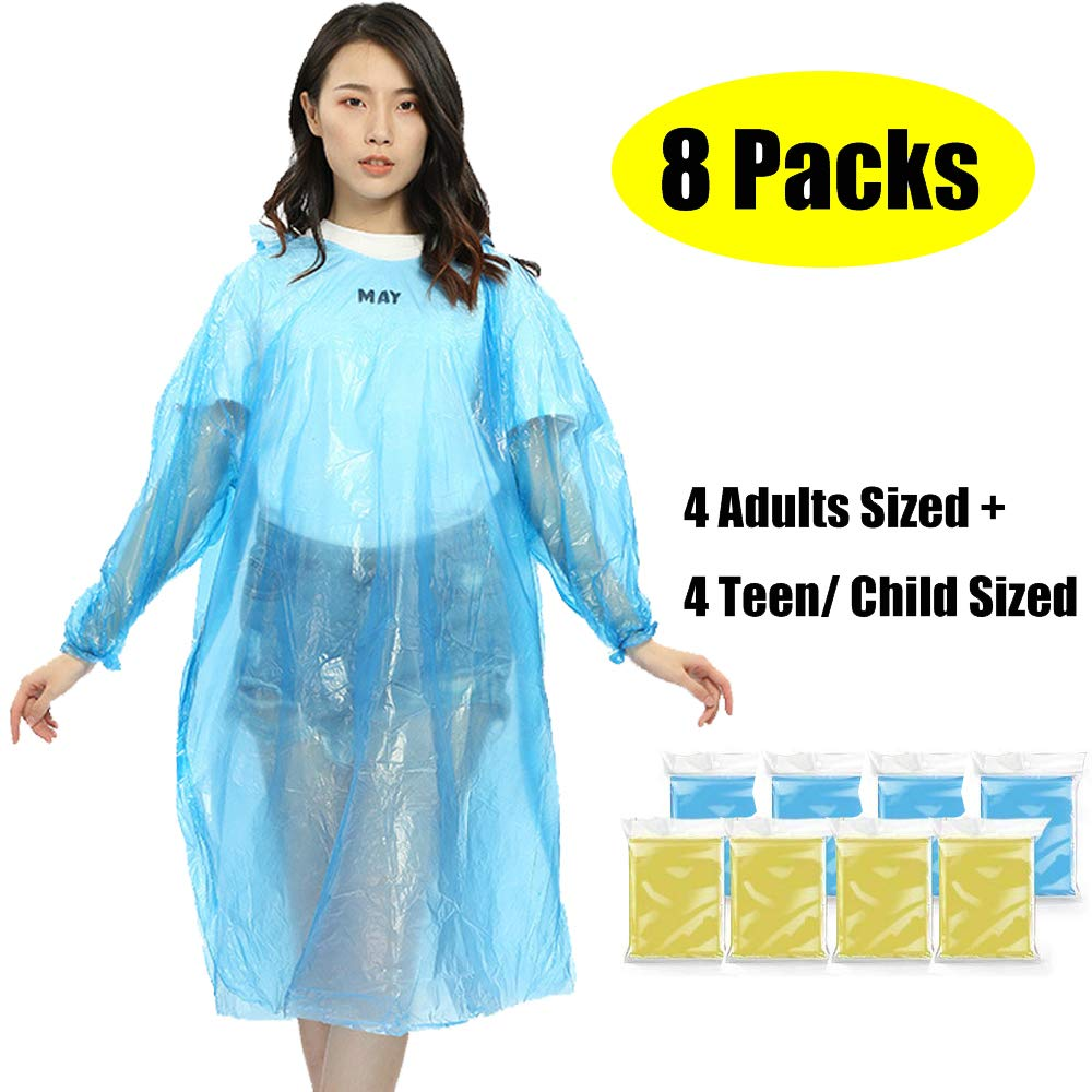 Emergency Rain Ponchos Disposable for Adults Teens Kids, Premium Quality 50% Thicker Material 100% Waterproof Disposable Raincoat Family Pack with Drawstring Hood - 8 Pack
