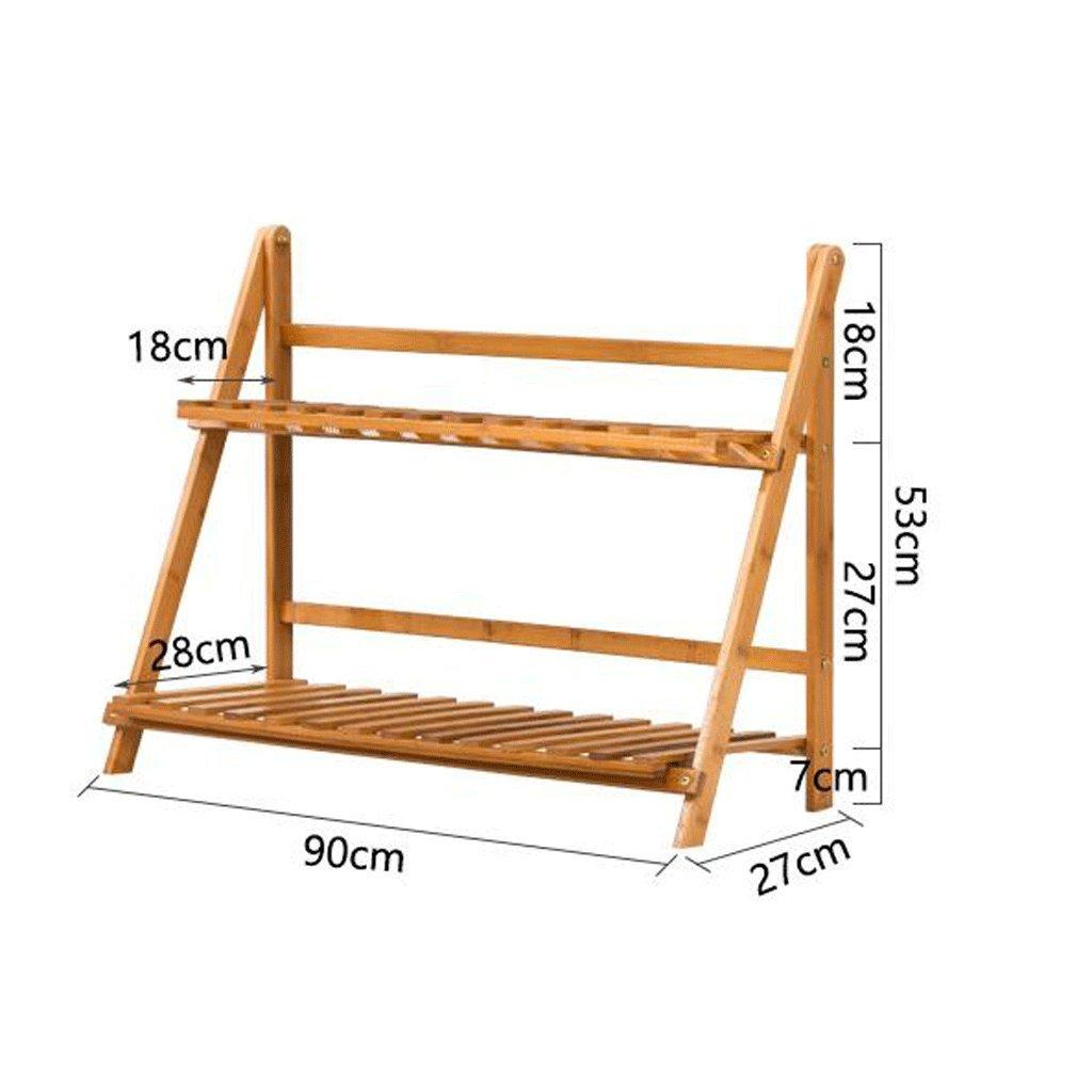 QZz Home® Scaffali per Fiori in bambù Soggiorno Pavimento in Legno Massiccio Scaffale Pieghevole a più Livelli Scaffale da Balcone (Dimensioni   90 Centimetri)