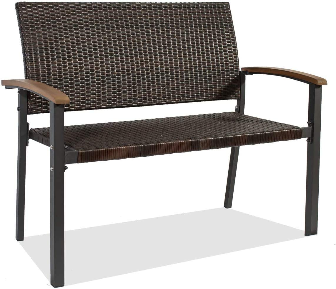 Patio Rattan Bench Garden Bench Double Bench Park Bench Love Bench with Wooden Armrest,Patio Rattan Furniture for Garden,Park,Yard or Balcony