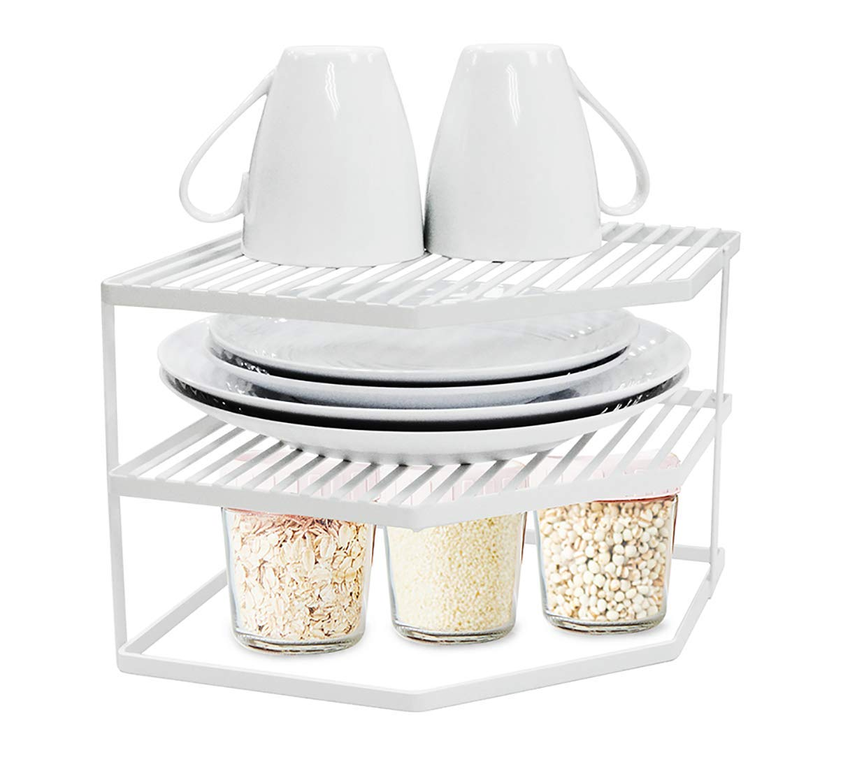 TIDY WISE SIMPLE ORGANIZING SOLUTIONS 3-Tier Corner Shelf Counter and Cabinet Organizer, White
