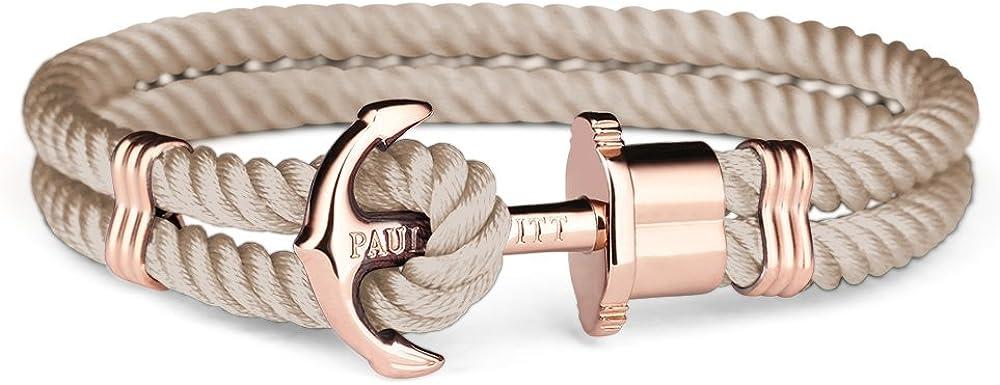 Paul Hewitt Pulsera para Mujer PHREP - Pulsera de Nylon Color Avellana con Ancla, Brazalete de Mujer con Cuerda de Vela y Ancla, Accesorio de Acero Inoxidable bañado en Oro Rosa