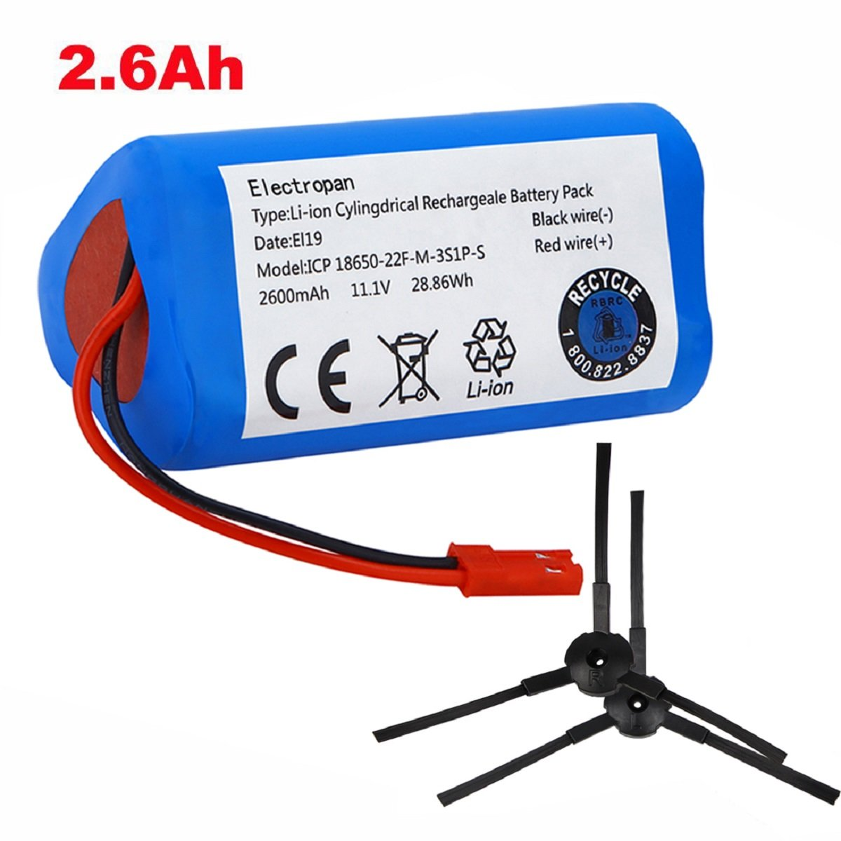 Electropan Robot Vacuum Cleaner Battery 11.1V 2600mAH Replacement for ILIFE V3s V3s Pro V5s Pro V5 V5s