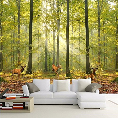 Custom Wallpaper Luxury Quality HD Natural Morning Sunlight Woods Deer Run 3D Large Wallpaper Mural Papel de Parede